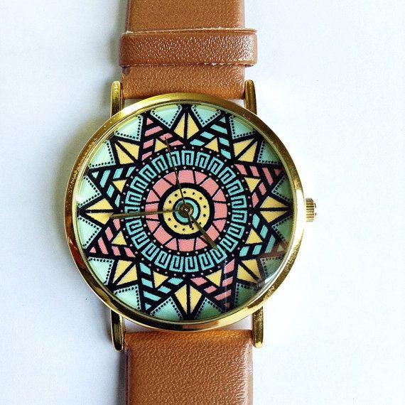 Watch aztèque, Style Vintage en cuir montre, Pastels, Montres femme, montre unisexe, copain Watch, Tan