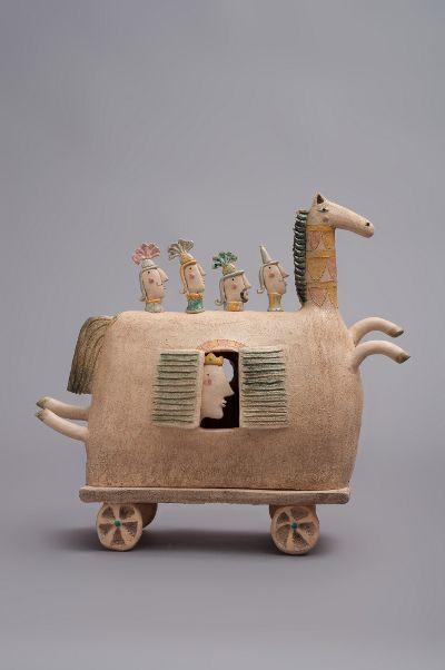 'Cavallo di Troia' by Italian ceramic sculptor Michele Fabbricatore (b.1972). via the artist's site