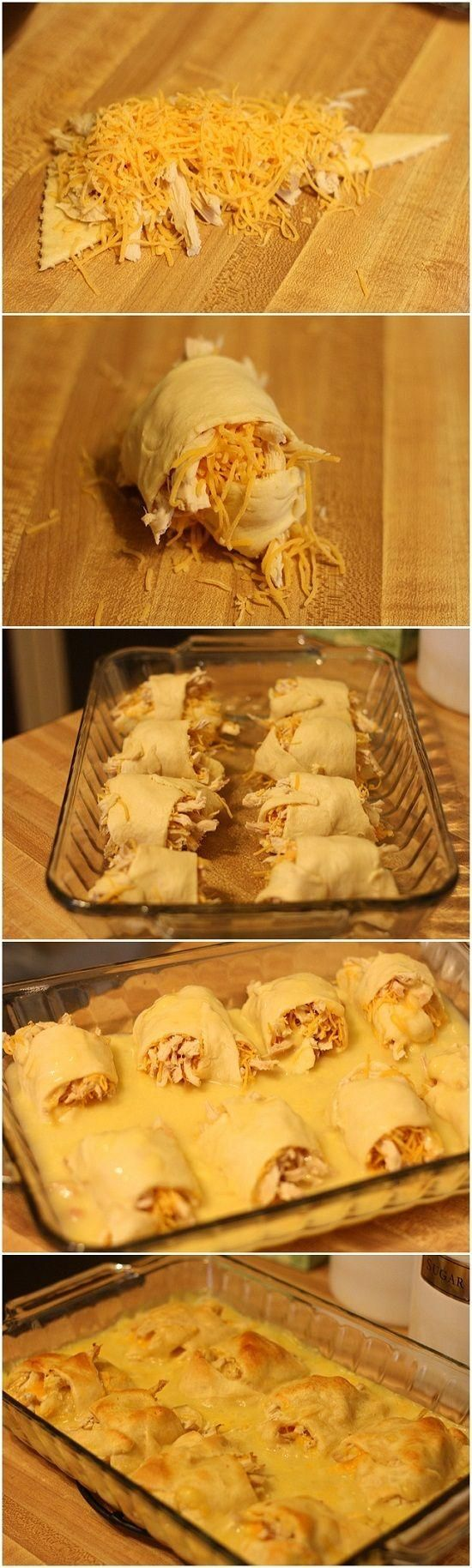 2-3 chicken breasts, baked or boiled and then shredded. 1 tube of crescent rolls, 1 can cream of chicken soup, Shredded cheddar cheese. Preheat oven to 375, roll up cheese and chicken in each crescent. Place in a 13 x 9 baking dish, mix 1/2 cup water with the soup and pour over all. Bake for 20-25 min or until golden brown. Easy and tasty! We cook the rolls w/chicken 1st & add a can of chicken a la king with the soup!! Yummy!!! THUMBS UP