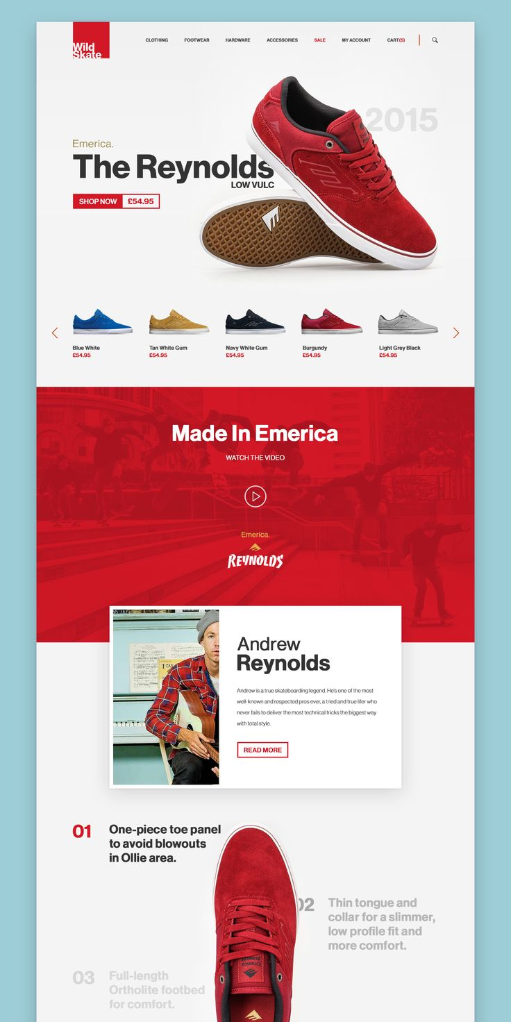 Landing Page UI design concept for eShoes shop website on Behance