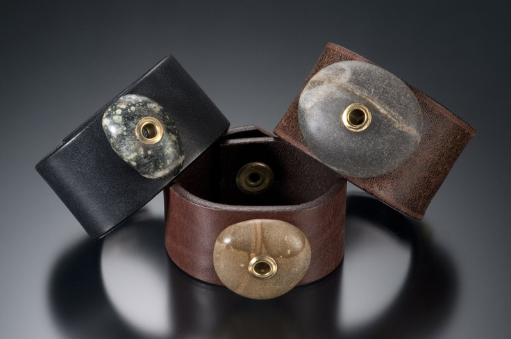 Repurposed leather belts beach stones w brass rivets Repurposed leather belts