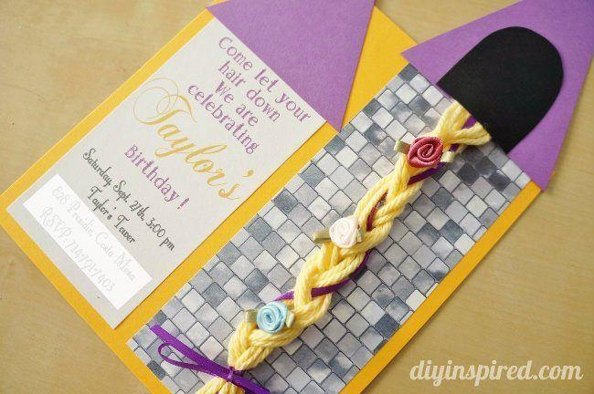 Rapunzel Invitation DIY tutorial with braided yarn hair. A step by step tutorial including measurements.