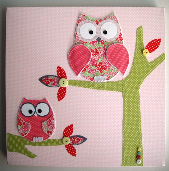 Handmade Owl canvas decor/picture/wall/ mobile by LittleMiine, $59.95