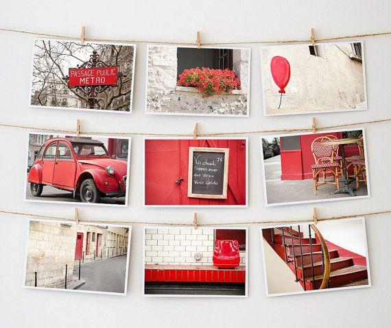 Paris Postcard Set Framable Photo Cards Red by TheParisPrintShop, $15.00