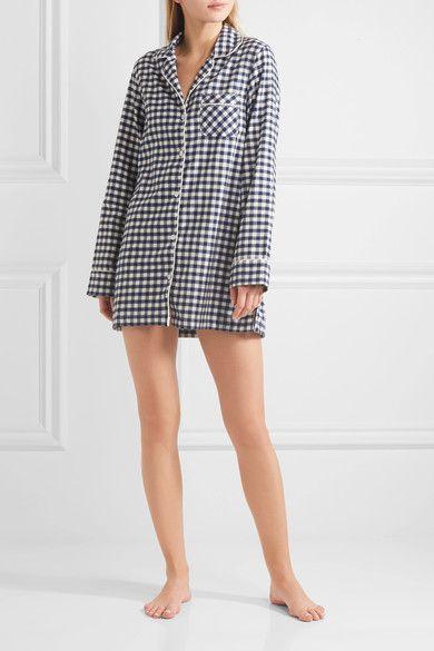 Three J NYC - Audrey Checked Cotton-flannel Nightshirt - Midnight blue - x small