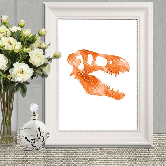 Dinosaur head skeleton print Orange boys bedroom by DorindaArt