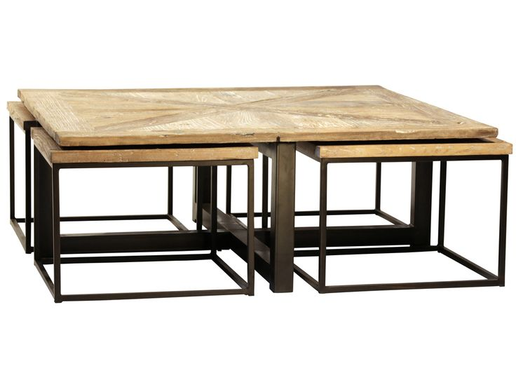 Furniture Drayton Nesting Coffee Table With Black Iron Cast Construction And Reclaimed Wood Top Table For