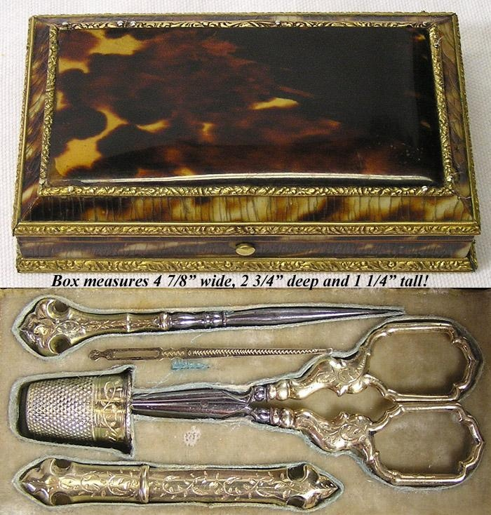 Antique French Boulle Sterling Sewing Etui, Tortoise Shell ALL 5 Original Vermeil Implements - Tortoiseshell photo credit: Antiques & Uncommon Treasure