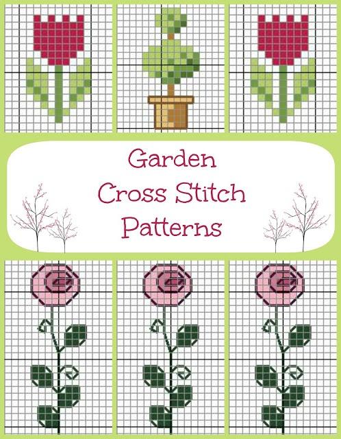 Easy Garden Cross Stitch Pattern via Hopeful Honey