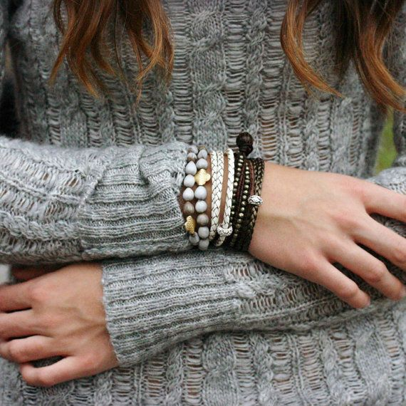 A wear-everyday bracelet in winter-white leather.