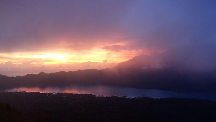 Sunrise on the top of Mount Batur, Bali