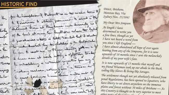 Dr Stephen Simpson Historic Moreton Bay colony letter