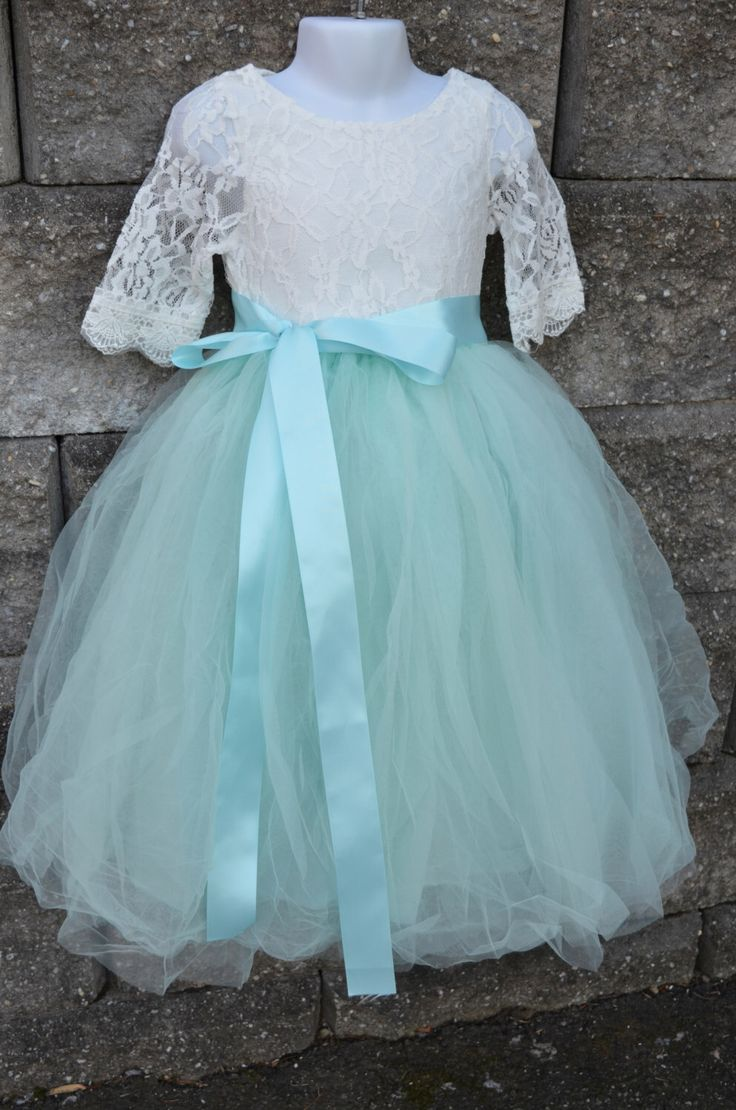 Flower girl Tutu dress set , Girls Aqua Mint Long Tulle Skirt lace blouse, Aqua Tutu, Skirt blouse set , Girls Tutu, Flower girl dress, Aqua by MaidenLaneBoutique on Etsy https://www.etsy.com/listing/218258369/flower-girl-tutu-dress-set-girls-aqua