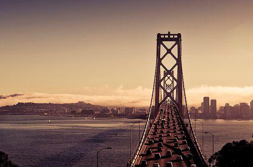 Traffic crossing the San Francisco - Oakland Bay Bridge, California.