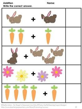 Easter: Easter will be fun with this 75 page printable packet full of preschool and kindergarten math and literacy skills. This packet is ready to go with no prep for you. Just print! The students only need a pencil and some crayons. So easy and fun! Students will match, classify, determine the smallest and largest, read number words, identify shapes and shape words, count objects up to ten, add, subtract, determine values of coins, identify coins, tell time to the hour, and more!
