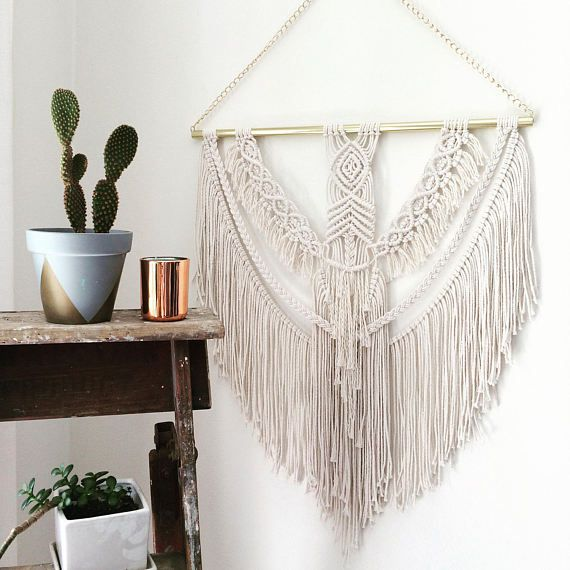 WOLFIE Large Macramé and Gold Wall-hanging Woven Textile
