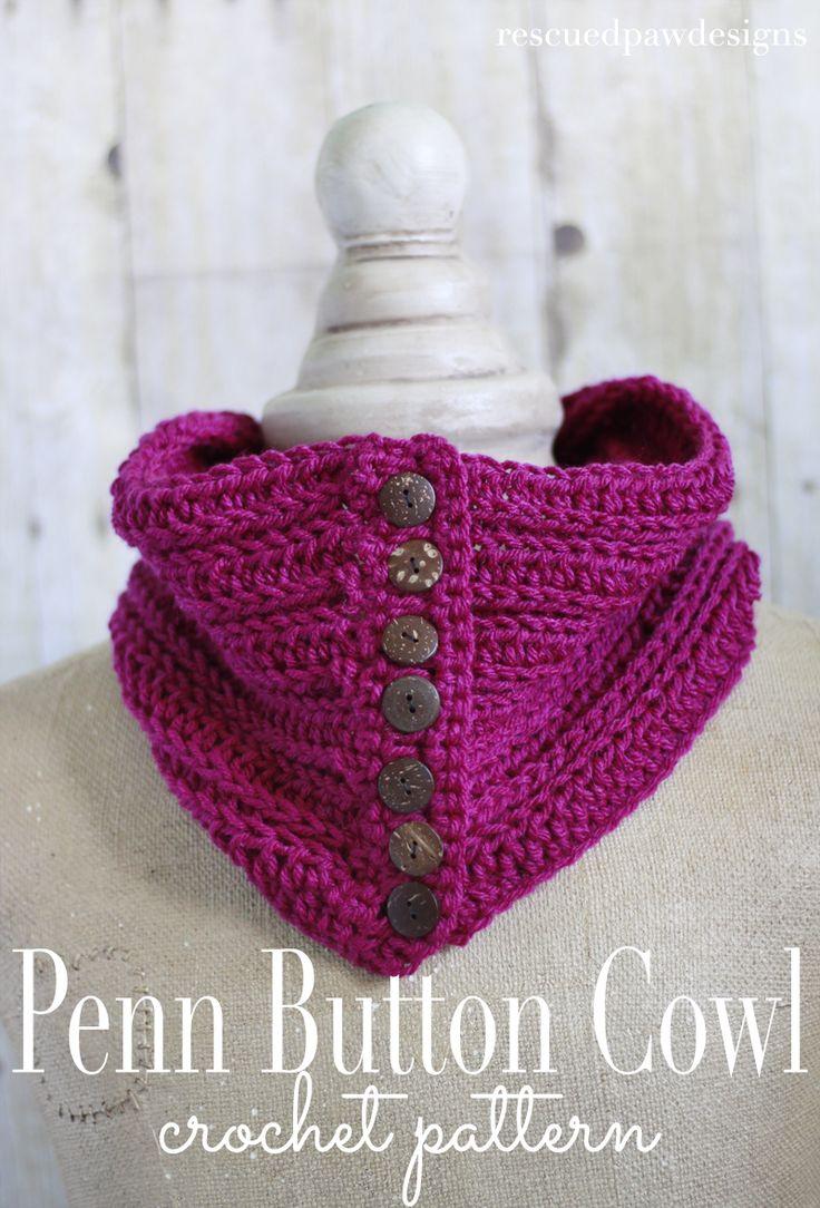 1976 best crochet scarves images on pinterest ponchos blouses penn button cowl free crochet pattern rescued paw designs bankloansurffo Gallery