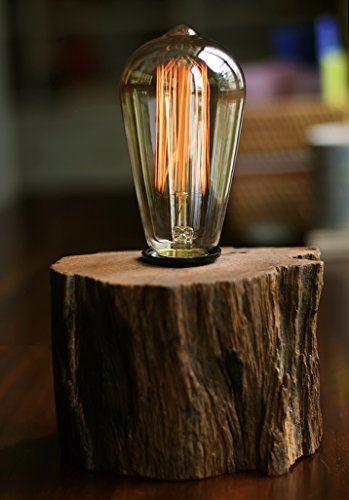 Industrial Lamp Vintage Edison Bulb with Drift Wood Base – E27/110V/40W Bulb – A…