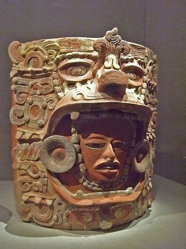 Container depicting man in jaguar headdress earthenware Early Classic Maya 400-600 CE