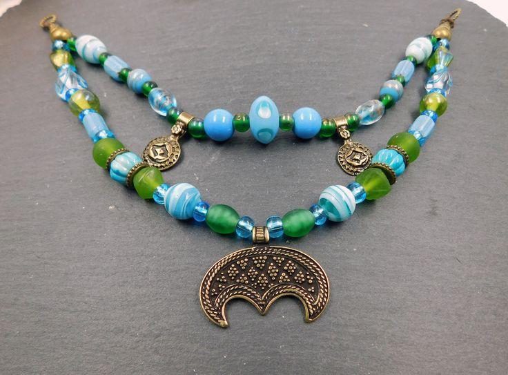 2- Reihige Fibelkette im Wikinger Stil Lunula / Münzen / Lampwork / türkis / grün / Bronze / Mittelalter / LARP / Unikat # 180 von BelanasSchatzkiste auf Etsy