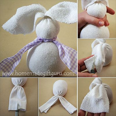 Step by step, trim and mold your sock bunny as shown...