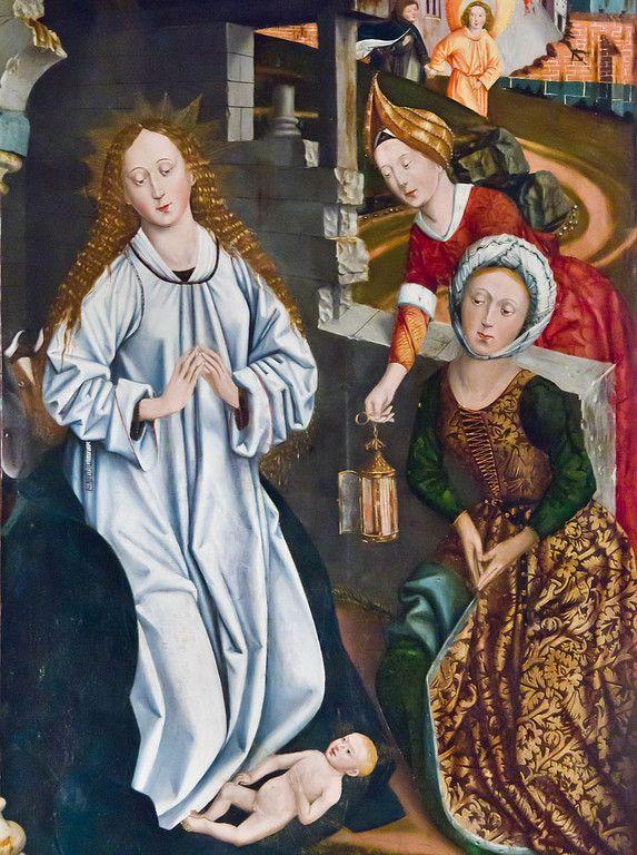 Bopfingen. St. Blasius. Hochaltar, li Flügel: Geburt, Detail