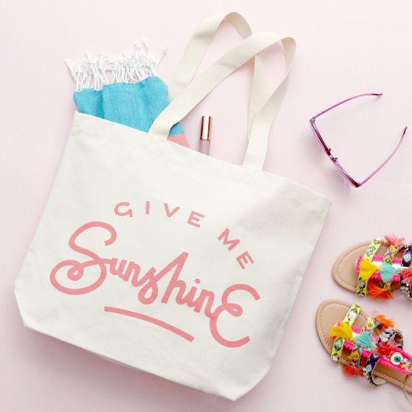 Give Me Sunshine Canvas Beach Bag