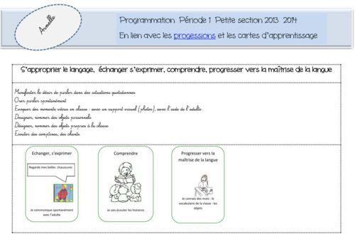 résumé du projet nouveaux programmes pour l'école maternelle. Plus: prog pour la PS (cartes d'apprentissage)