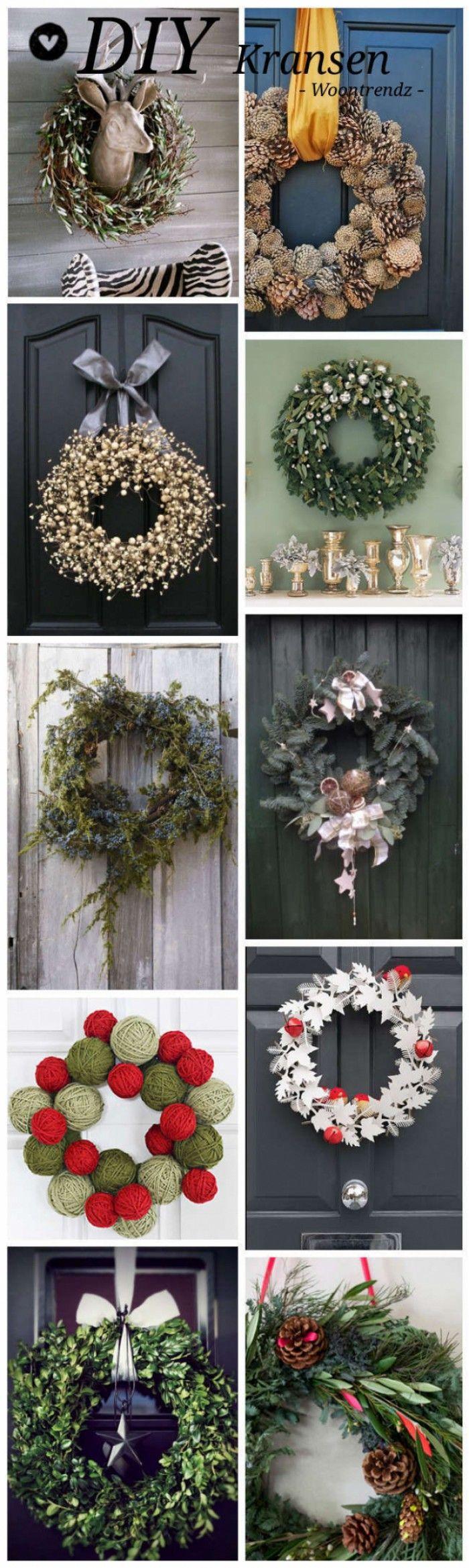 """DYI kerstkransen. De mooiste kerstkransen maak je natuurlijk zelf! Klik op """"bron"""" naast de foto voor de instructies."""