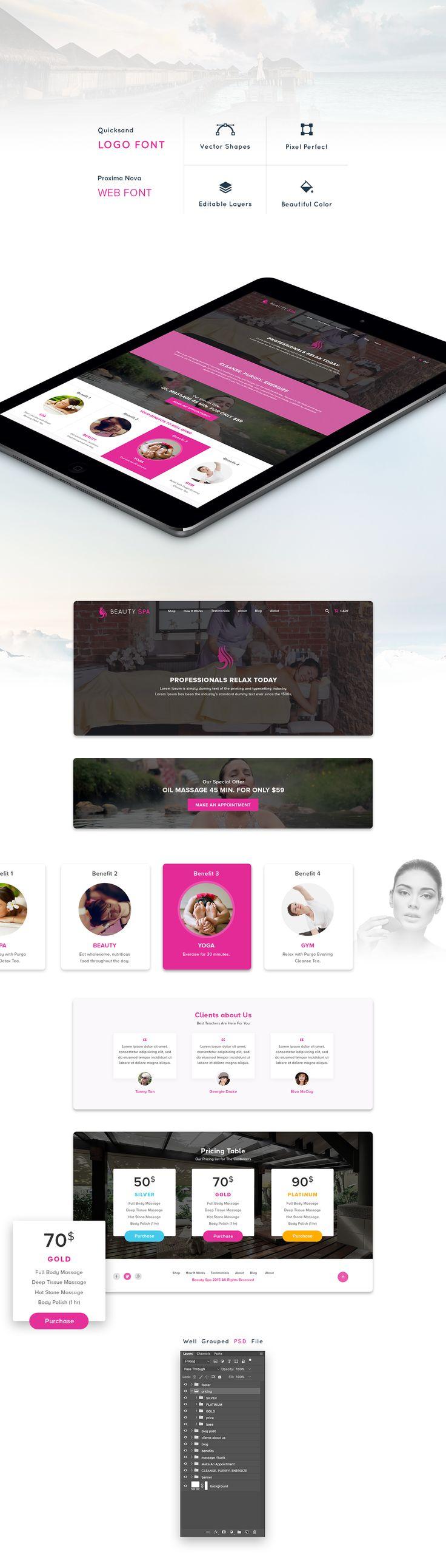 Spa Website ( FREE PSD + HTML ) on Behance