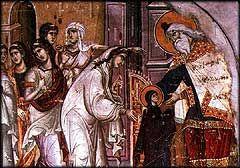 La Présentation de la Vierge, Karyes, Protaton.  Fresque par Manuel Panselinos, 14 c.