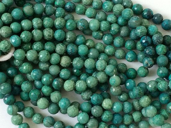 Chrysocolla Beads Chrysocolla Faceted Round Balls by gemsforjewels
