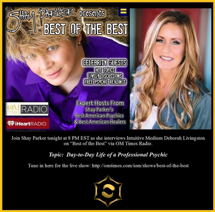 Airing Tuesday 24 January 2017 8:00 PM ET  Tune in as Shay Parker interviews international award-winning Psychic Medium Deborah Livingston.  Shay and Deborah will be discussing the day-to-day life of a professional psychic and how they deal with normal life including social events friends family etc.  Be sure to listen in for engaging discussion and thought-provoking conversation!  http://ift.tt/1ZCqBA5  #bestofthebest #shayparker #iomradio #omtimesradio #psychic #deborahlivingston #bap…