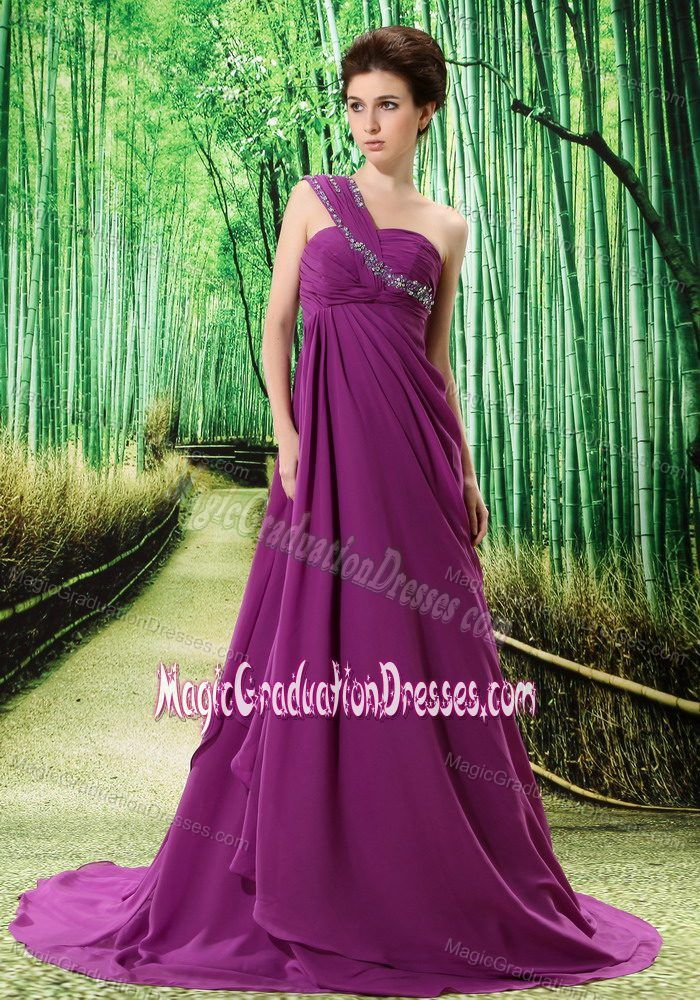 One Shoulder Court Train Purple Graduation Dress for Juniors Free Shipping