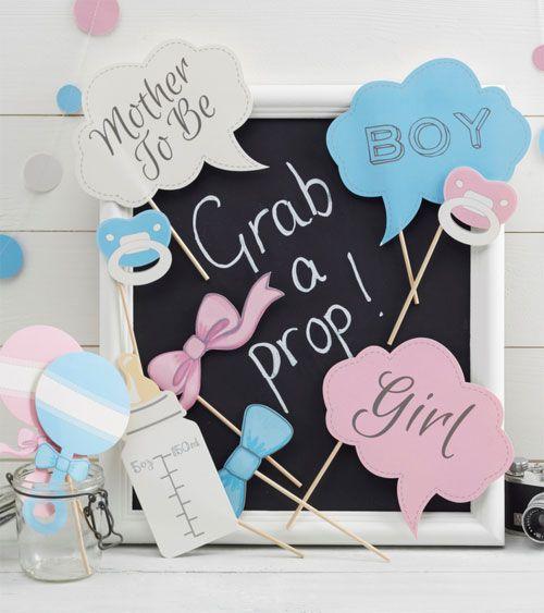 Witzige Babyparty-Spielidee: Photobooth! Süße Accessoires in rosa und hellblauen Farben mit Rasseln, Schnuller, Fliege, Schleife u.v.m. 10-teilig.