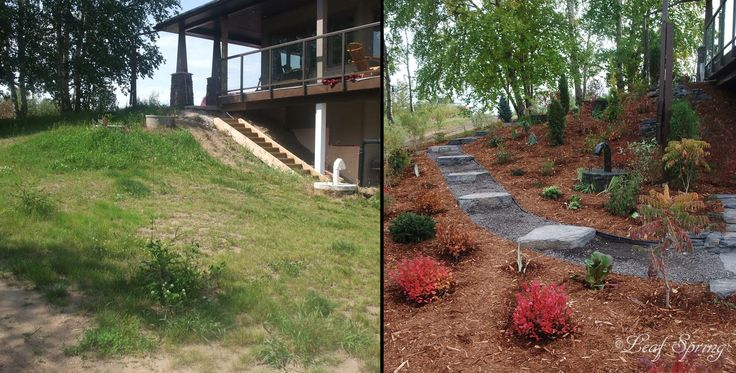 Rundle Rock slabs with limestone gravel provide a gradual and interesting descent to the lower level of this yard.