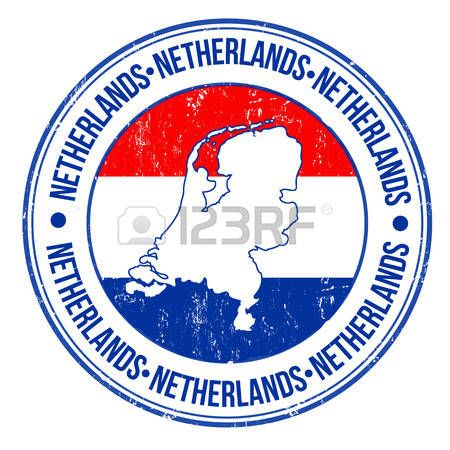 holland stamp: Grunge sello de goma con la bandera de Países Bajos, el mapa y la palabra Holanda escrito en su interior, ilustración vectorial