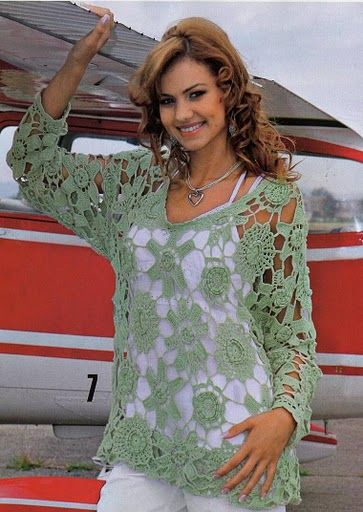 Crochet top - see pattern for motifs...