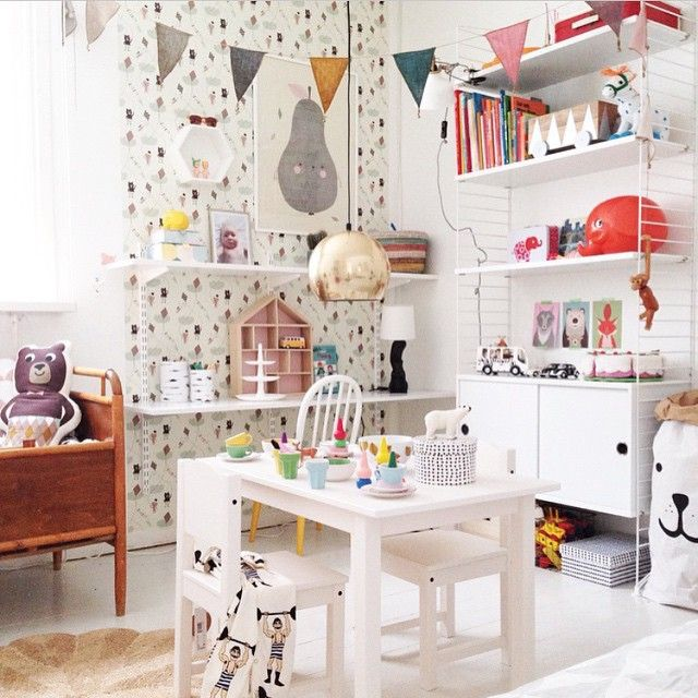 """Love this playful room from @tellkiddo feed on Instagram. """"This beautiful kids room belongs to @bloggaibagis and our bear paperbag is doing the peekaboo """""""