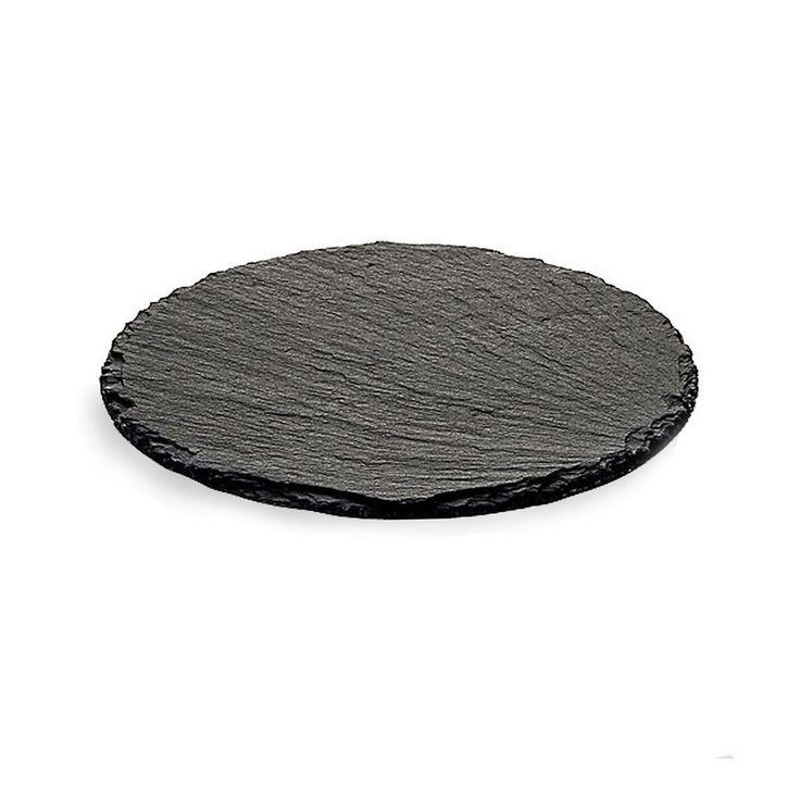 Schieferplatte rund, ca D:20cm, schwarz