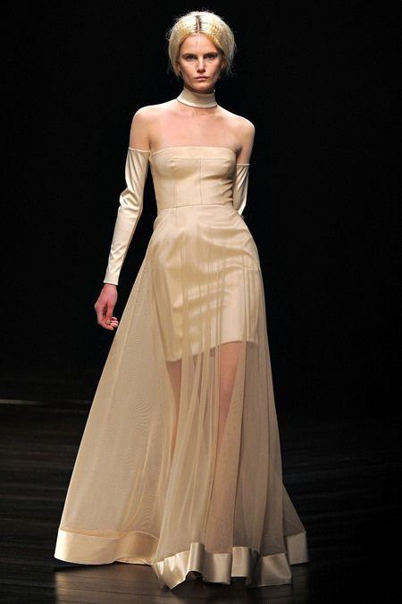 Marios Schwab AW13 nude colour dress   love the sheer effect over short dress x