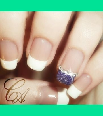 French Manicure w/ Glitter Accent | Christa S.'s (Chrissy) Photo | Beautylish | Funky French Tip Nails | Pinterest | Manicure, Nail nail and Makeup