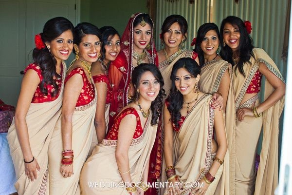 bridesmaid dresses, cream, cultural, gold, red, sari, jewelry, tikka, lengha, silver, south asian, Bridesmaids, indian, wedding, San Jose, California