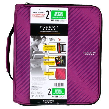 Five Star 2 Inch Zipper Binder, Purple, 1 Count