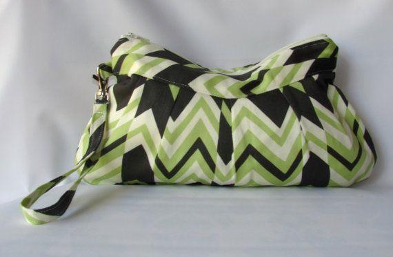 Ritzy Stripe Wristlet Zippered Bag Clutch Wristlet by MintChocolat
