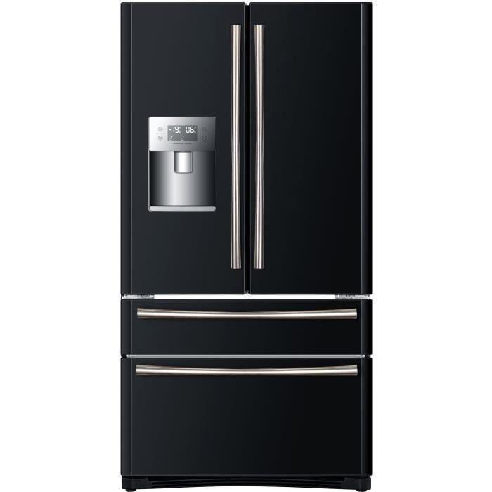 RÉFRIGÉRATEUR AMÉRICAIN HAIER B22FBAA - Réfrigérateur multi-portes - 522L (387+135) - Froid ventilé - A+ - L 91cm x H 177cm - Noir brillant