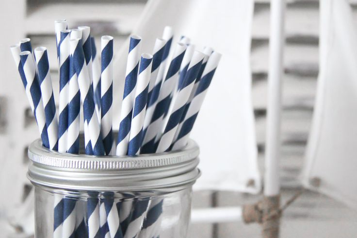 Navy Striped Paper Straws - Teelee - A Bits & Bobs Brand