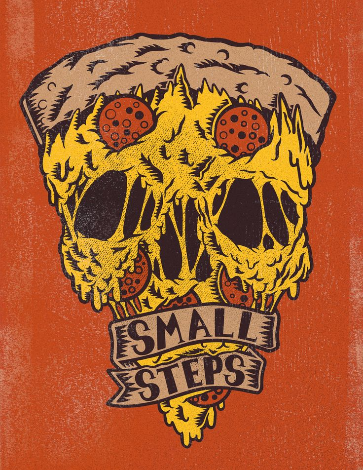 Behold, the Pizza Skull. This is an illustration for Athens, OH hardcore band, Small Steps. Stickers and patches are in the works. If you like what you see check out my blog: http://redntoothnclaw.tumblr.com/ Follow the band here: http://smallstepsband.tumblr.com/