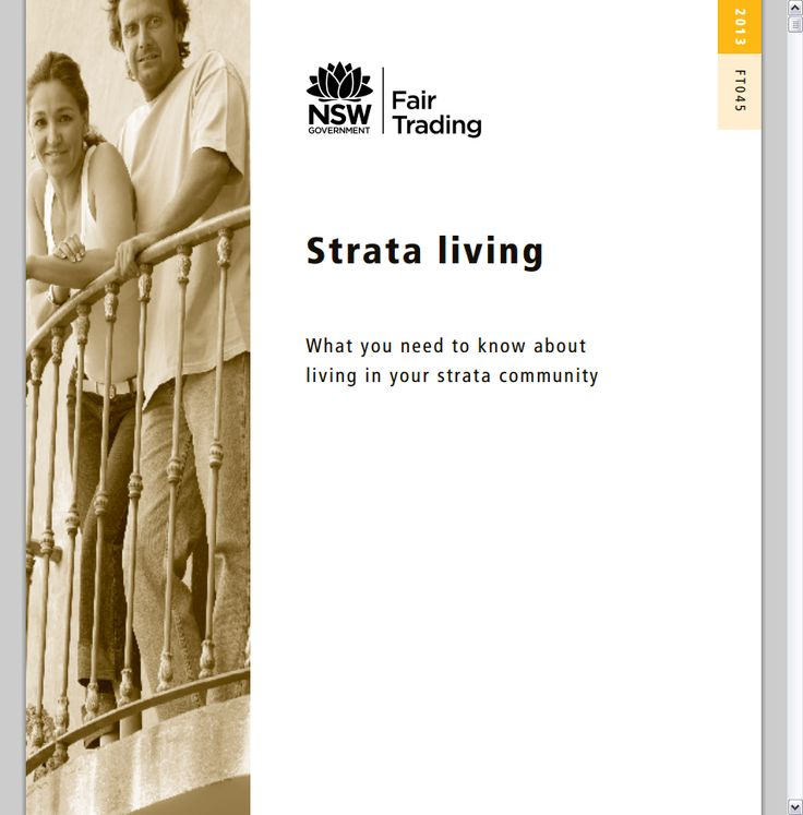 """Strata living: What you need to know about living in your strata community""  NSW Fair Trading. (PDF online) Available in print at your local public library."