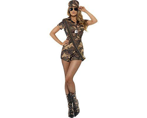 "Smiffy's Army Girl Costume Jumpsuit - Medium Sexy Army Girl with Shorts Jumpsuit and Hat Costume Sizes Available: SizeUK Dress SizeBustWaistLengthSmall8 – 1030"" – 32""28"" – 30""31""Medium12 – 1434"" – 36""32"" – 34""32"" by Smiffy'sArmy Girl Sexy Costume, With Short Jumpsuit, Belt and Hat"